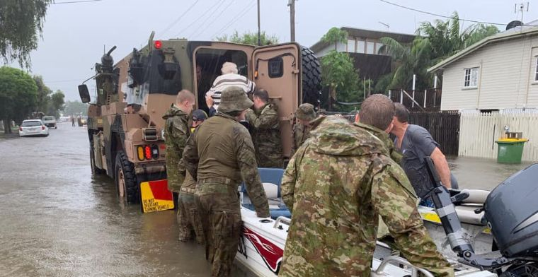 Members of the 4th Regiment, Royal Regiment of Australian Artillery, carrying out flood rescue and evacuations on the weekend.