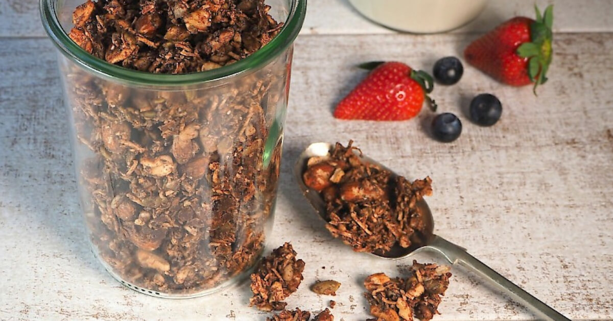 a cup of chocolate granola