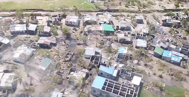 Aerial photo of destruction in Beira, Mozambique left by cyclone idai