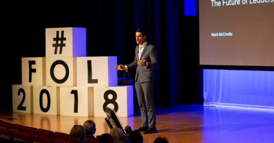 Mark McCrindle in 2018 speaking at spoke at an event called The Future of Leadership event