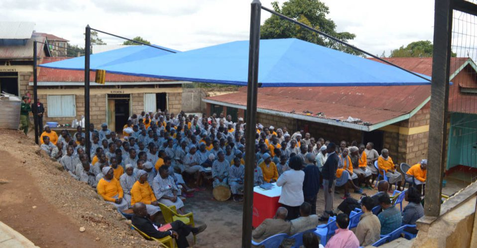 Meru prison men and women gathering for church