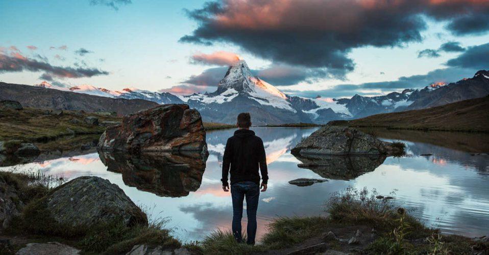 Man at lake