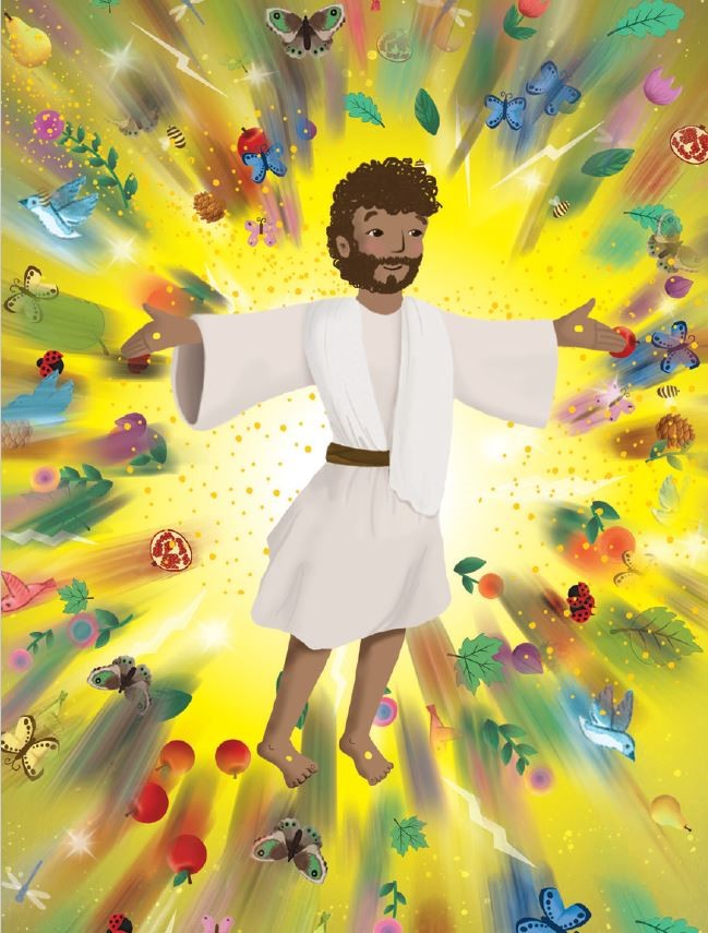 An illustrated image of Jesus surrounded by flora and fauna