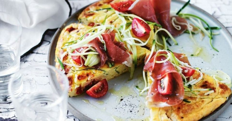 photo shows proscuitto on a frittata