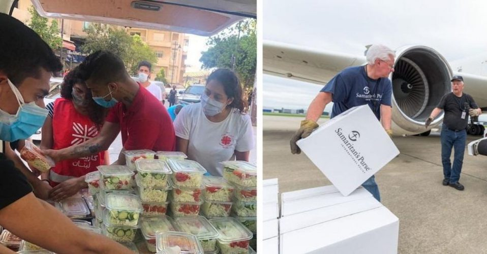 (L) Caritas in Beirut prepares food aid; (R) Samaritan's Purse packs emergency supplies.