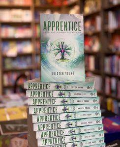 Book display of Kristen Young's book, Apprentice