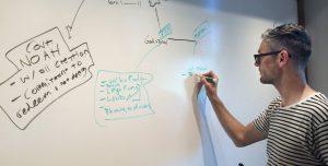tim mackie storyboarding on a whiteboard